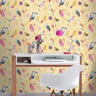 Tapet pentru camera copilului, model cu pasari colorate, D293029E 2