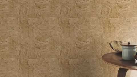 Tapet cu aspect de piatra decorativa in nuante de crem si maro, D445770E 4
