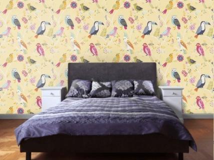 Tapet pentru camera copilului, model cu pasari colorate, D293029E 7