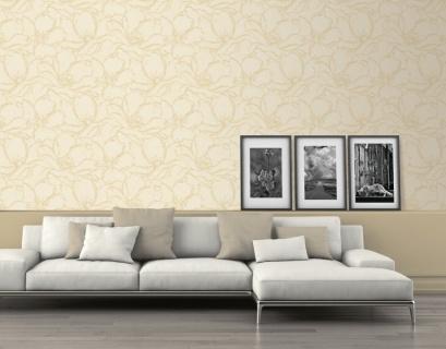 Tapet model floral in nuante de crem cu centrul florilor sidefat, DJ93707I (tapet dormitor, tapet living) 2