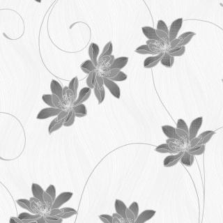 Tapet cu flori gri pe fundal crem, D153103E 1