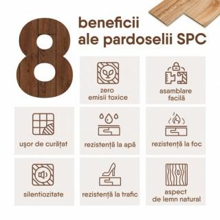 Parchet SPC (Nou LVT), Compozit Vinil cu Piatra, Baumann, Culoare Alb, 1220x180x5/0.3mm (8802-6) 2